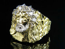 Men's Real 10K Yellow Gold Lab Diamond Jesus Face Fashion Pinky Ring