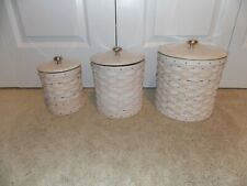 * Longaberger * 2010 Canister Set Combos (Baskets, Protectors, Lids) Whitewash
