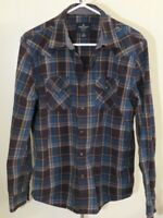 Men's Teal Blue & Black Plaid Long Sleeve Snap Up Shirt Size M American Eagle