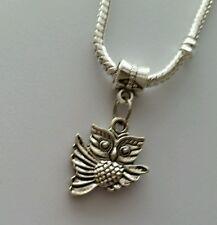 Silver Tone Owl Bird Slider Dangle Charm Bead For European Bracelets Necklace