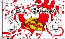 Just Married 5'x3' Flag Celebration Party Marriage