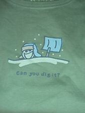 "LIFE IS GOOD WOMENS  L/S HOLIDAY TEE  JAKE IN SNOWSTORM "" CAN YOU DIG IT ""(L)"