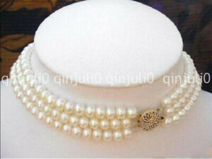 Elegant Charming 3 Rows 7-8MM Natural White Akoya Cultured Pearl Choker Necklace