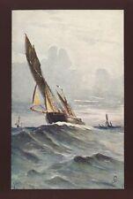 Sailing Boat Tuck #6268 Aquarette artist Cordinglley PPC