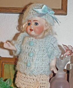 "Antique Doll Dress Set +Mohair Sweater+Hat for 8"" Bisque Miniature OOAK Original"