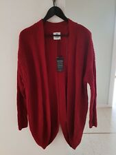New JEANSWEST Wine Red CARDIGAN Size L Wool Blend Long Back Assymetrical Feature