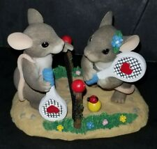 Charming Tails Fitz Floyd Two Love Tennis Mice Figure Excellent Condition