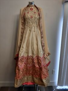 VTG handmade Pakistani/Indian bridal maxi dress Pink cream coral size Sm XS