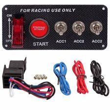 Carbon Fiber Engine Start Push Button Switch Panel Race Car Ignition Accessory P