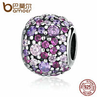 Bamoer Authentic S925 Sterling Silver Charm Ball With Colorful CZ Fit Bracelet