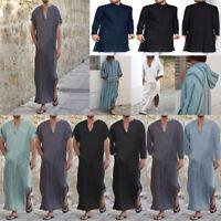 Men Casual Ethnic Short/Long Sleeve Islamic Loose Arab Top Maxi Kaftan Thobe New