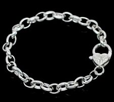5 - Silver Plated Link Chain Charm Bracelet  Large Heart Lobster Clasp 20cm M135