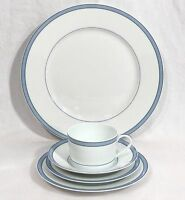 Raynaud Limoges Porcelain Tropic Blue 5pc Place Setting Made in France