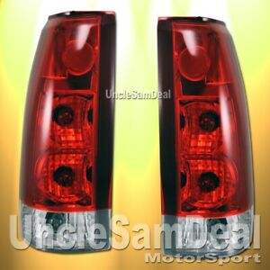 CHEVY C/K TAHOE SUBURBAN YUKON EURO RED CLEAR TAIL LIGHT PAIR DIRECT FIT