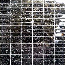 Black Glitter Glass Brick Wall Spashback Mosaic Tiles Bathroom Shower M2 MT0010
