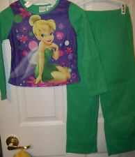 Tinkerbell Flame Resistant 2 Piece Pajama Pj Flannel Set Girls Size 10 / 12 New
