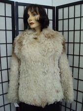 MINT OFF-WHITE & BROWN CURLY LAMB FUR JACKET COAT WOMEN WOMAN 0-2 PETITE