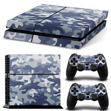 PS4 Skin & Controllers Skin Vinyl Sticker For PlayStation 4 Blue Camo Military