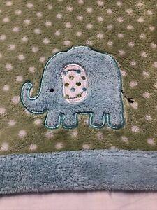 Carter's Cozy baby Blanket Green White Polka Dot Aqua blue Elephant fleece