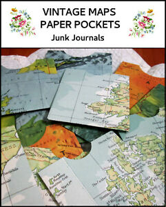 10 x HAND-MADE PAPER POCKETS - Vintage maps  5 each lge & small Junk journals