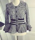 Mixed Cable Black Stripes Knit Wool Blend Peplum Hem Flared Cuff Cardigan