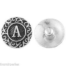 1 Bouton Pression Click Alphabet Lettre A Pour Bracelet Personnalisé 18.5mm