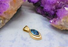 9CT (375) 3 TONE HAND MADE PENDANT-LONDON BLUE TOPAZ & DIA.( 27.5mmx11mm) 5.8gr.