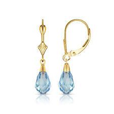 Blue Aquamarine 14K Solid Yellow Gold Tear Drop Shaped Dangle Earrings