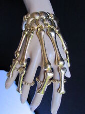 Women Hand Chain Gold Skull Fingers Metal Skeleton Fashion Slave Bracelet Ring