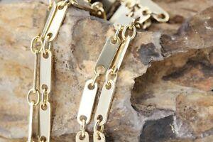 Goldkette 585 Plattenkette massiv 14 K Gelbgold Länge 46 cm Breite 2,8 mm 9,90g