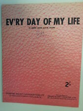 song sheet EVRY DAY OF MY LIFE J. Crane A. Jacobs 1954