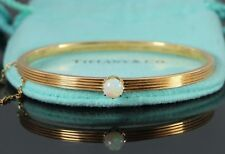Estate Vintage Collectible Tiffany & Co 18k Yellow Gold Opal 6'' Bangle Bracelet