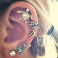 Gift Stud Silver Geometric Turtle Earrings 6Pcs/set