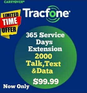 Tracfone Days extensión plus 2000 talk minuts/ TRACFONE 365 SERVICE DAYS ADDS ON