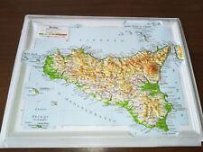 '60 vecchia cartina in plastica SICILIA PALERMO PIANA ALBANESI CATANIA ENNA