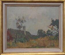 RICHARD BJÖRKLUND (SCHWEDEN 1897-1974) ALTES BAUERNHAUS IM GRÜNEN - ÖL AUF HOLZ
