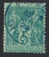 N°75 - TYPE SAGE    OBLITÉRÉ  cachet à date bleu de la Gironde    CV: 10 €