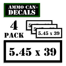 "5.45 X 39 Ammo Can 4x Labels Ammunition Case 3""x1.15"" stickers decals 4 pack WT"