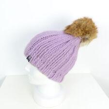 Toque Cappello a maglia Knit Alpaca POMPON PELLICCIA GRIGIO LILLA tenue (t31)