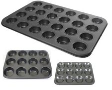 Set of 2 Pro Chef 24 Cup Mini Muffin Tin Non Stick Carbon Steel Baking Tray