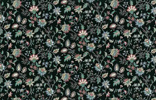 Paisley Floral Wallpaper Black Green Rose Blue Westchester GI2011 DOUBLE ROLLS