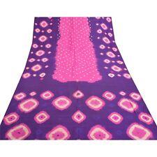 Sanskriti Vintage Pink Sarees 100% Pure Silk Bandhani Printed Sari Craft Fabric