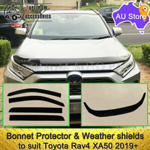 Black Bonnet Protector Guard Weather shields to suit Toyota Rav4 XA50 2019-2021