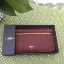 GORGEOUS FOSSIL PRESTON BROWN LEATHER FLAP CLUTCH PURSE AND GIFT BOX BNWT