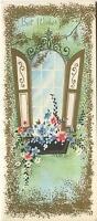 VINTAGE GARDEN FLOWERS WINDOW BOX GOLD SHUTTERS PRINT 1 CHRISTMAS TEA SHOP CARD