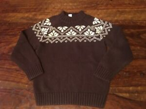 Gymboree NWOT ski sweater Fair Isle Reindeer 10 12 10-12 100% cotton brown