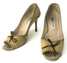 Manolo Blahnik Tan Suede Peep Toe Heels Size US 8.5 EUR 39