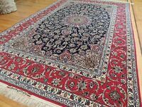 Exquisite  7x11, 8x10  SILK SIGNED! Red Navy Oriental Area Rug Medallion