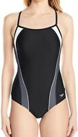 Speedo Women's Swimwear Black Size 8 One-Piece Free Racer Swimsuit $78 #276