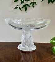 Lalique Angelots Compote (Elevated Bowl) Stunning c1990's New in Box, Signed